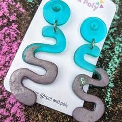 Blue and mauve squiggle dangles
