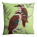 Cushion - Vintage Retro Australian Kookaburras on Green