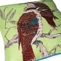 Cushion - Vintage Retro Australian Kookaburras on Green