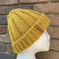 Handmade knitted mustard alpaca beanie men's or ladies PomPom optional