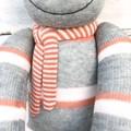 'Preston' the Sock Monkey - grey, caramel, pale pink & white -*MADE TO ORDER*