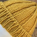 Handmade knitted mustard alpaca beanie men's or ladies PomPom optional