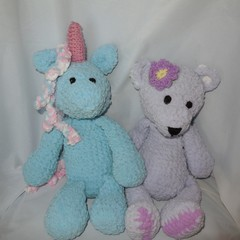 Soft Toys Unicorn and Bear