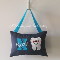Tooth Fairy Cushion - Personalised - Blue Letter