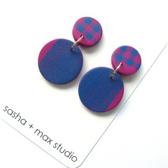 Pink and Blue Gingham Dot  Mid Disc statement earrings