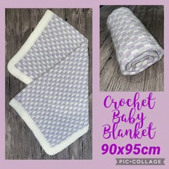 Crochet Baby Blanket, purple, white, grey, hand made