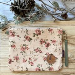 Floral corduroy pouch