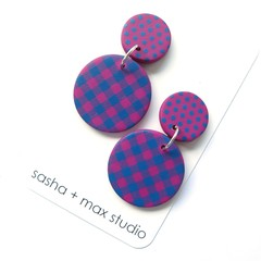 Pink and Blue Polka Dot and Gingham Large Disc statement earrings