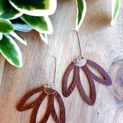 VEGAN, Faux Leather, Lotus Flower Earrings, Tan Brown