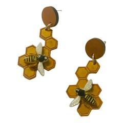 Bee Honeycomb Earrings | Resin Jewellery | Statement Dangle Earrings
