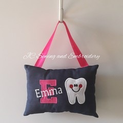 Tooth Fairy Cushion - Personalised - Pink Letter