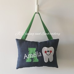 Tooth Fairy Cushion - Personalised - Green Letter