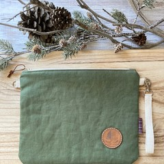 Green floral pouch