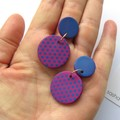 Pink and Blue Polka Dot  Mid Disc statement earrings