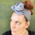Grey Boho Wire Headband, Wire Headscarf, Twist Headband
