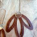 VEGAN, Faux Leather, Boho Flower Earrings, Tan Brown