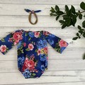 Floral Seaside Romper, Size 000 00 0 or 1 Baby Girls Playsuit