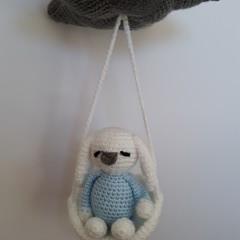 Bunny, Rabbit, Crochet mobile, baby mobile, mobile, baby, gift, toy, amigurumi