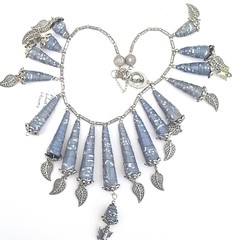 Handmade paper bead necklace blue and silver bell shaped paper beads with leaves