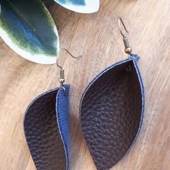 VEGAN Pinched Petal, Faux Leather Earrings,  Chocolate Brown