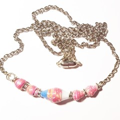 Paper bead necklace in blue and pink. Delicate and elegant