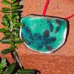 Sea Flower - copper enamel pendant