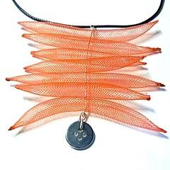 Necklace Handmade Pendant style statement piece. Red nylon tubing.