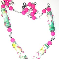 Boho wire wrapped bead paper necklace  lime green/vibrant pink. Extra long.