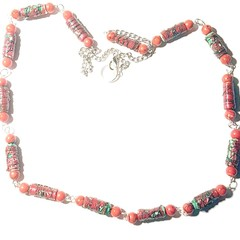 Tyvek beaded necklace, green and red, extra long lightweight