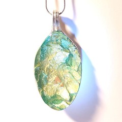 Necklace. Pendant. Green and Gold Eggshell on upcycled cutlery.