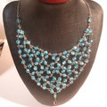 Amazing blue Swarovski Crystal bib style necklace-exclusiveEryka Garbutt Design.