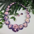 Purple Puff Sparkle Glitter  - Resin Button Necklace and Earrings