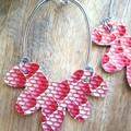 """VEGAN """"Ashe"""", Faux Leather Stud Earrings, Red/White Snakeskin"""