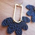 VEGAN Faux Leather Flower Earrings, Black, Brass