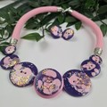 Purple Puff Gilltering - Button Fusion Necklace - Button Jewellery