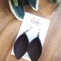 VEGAN Pinched Petal, Faux Leather Earrings,  Chocolate Brown