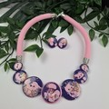 Purple Puff Gilltering - Button Fusion Necklace - Button Jewellery
