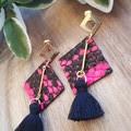 """Geo"" Tassel,Studded Dangle Earrings, Genuine Leather, Pink/ Black Snakeskin"