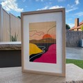 Burnt Sunset Landscape Framed Artwork