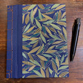 Japanese Stab Bound, Leaves on Indigo, A5 Side-fold Notebook