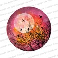 Instant Download Watercolour Print Pink Orange Yellow with Tree Branch, Birds