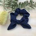 Navy ocean bow scrunchie