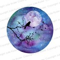 Instant Download Watercolour Print Blue Purple green with Tree Branch, Birds