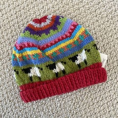 Red sheep Beanie - to fit approx size 6-12 months -hand knitted