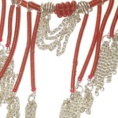 Wire and chains, red and silver , choker style staement peice necklace