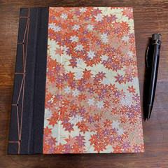 Handmade Japanese Stab Bound, Autumn Leaves, A5 Side-fold Sketchbook/Journal