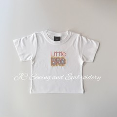 Little Bro White T-shirt with grey & white dotted applique