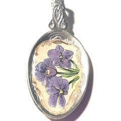 Upcycle handmade Pendant necklace recycled cutlery, teaspoon, purple flowers