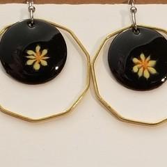 Black Drop Earrings Brass Surround