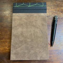 Japanese Stab Bound, Brown Suede, A5 Top-fold Sketchbook/Journal